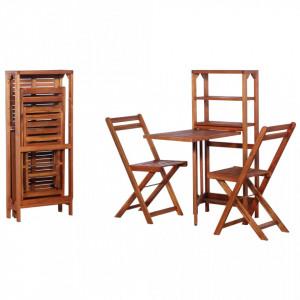 Set mobilier bistro pliabil, 3 piese, lemn masiv de acacia - V44013V