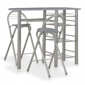 Set mobilier de bar, cu rafturi, 3 piese, gri, lemn si otel - V284401V