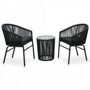 Set mobilier de bistro cu perne, 3 piese, negru, ratan PVC - V48138V
