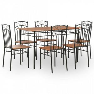 Set mobilier de bucatarie, 7 piese, maro, MDF si otel - V281401V