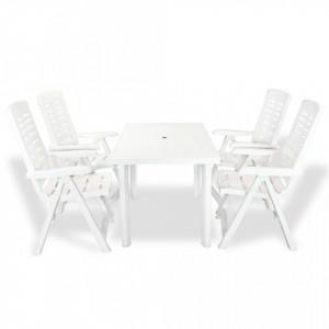 Set mobilier de exterior, 5 piese, alb, plastic - V275074V