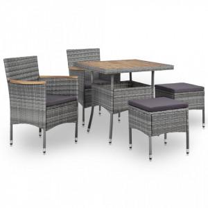 Set mobilier de exterior, 5 piese, gri, poliratan, lemn acacia - V46170V