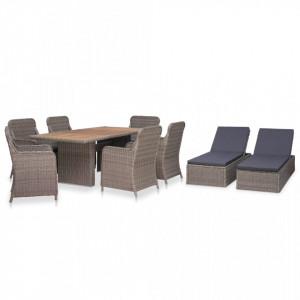 Set mobilier de exterior, 9 piese, maro, poliratan - V3057802V