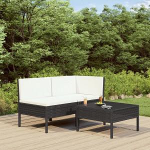 Set mobilier de gradina cu perne, 3 piese, negru, poliratan - V310186V