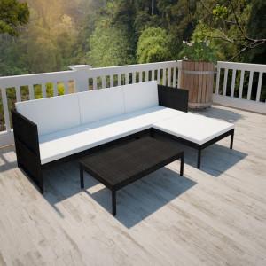Set mobilier de gradina cu perne, 3 piese, negru, poliratan - V41382V
