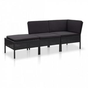 Set mobilier de gradina cu perne, 3 piese, negru, poliratan - V48961V