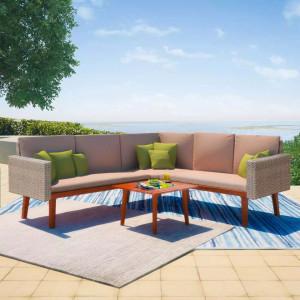 Set mobilier de gradina cu perne, 4 piese, gri, poliratan - V43133V