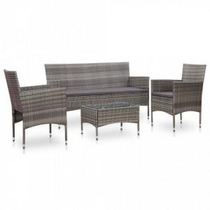 Set mobilier de gradina cu perne, 4 piese, gri, poliratan - V45890V