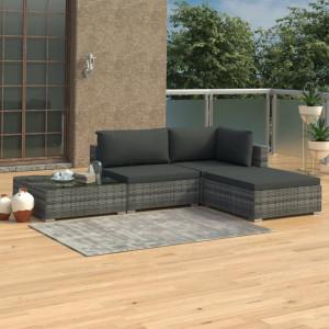 Set mobilier de gradina cu perne, 4 piese, gri, poliratan - V46779V