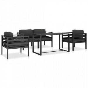 Set mobilier de gradina cu perne, 5 piese, antracit, aluminiu - V49236V