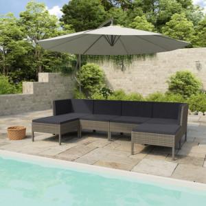 Set mobilier de gradina cu perne, 6 piese, gri, poliratan - V3056964V