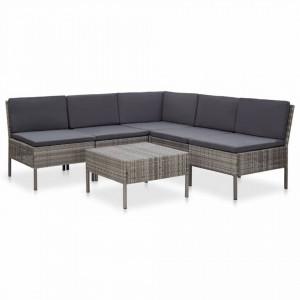 Set mobilier de gradina cu perne, 6 piese, gri, poliratan - V48938V