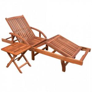 Sezlong de plaja cu masa, lemn masiv de acacia - V42594V