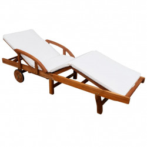 Sezlong de plaja cu saltea, lemn masiv de acacia - V42595V