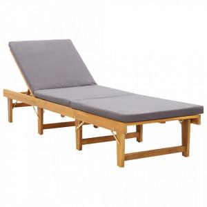 Sezlong pliabil cu perna, lemn masiv de acacia - V46491V
