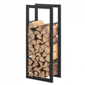 Stove Suport lemne pentru sobe si seminee AAFR-6601, 40 x 100 x 25 cm, otel, negru - P57591466
