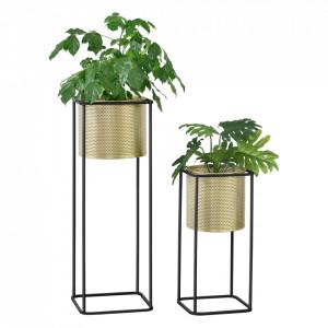 Suport plante 2 bucati ABMM-2152, metal, negru/auriu, masuri diferite - P72332338