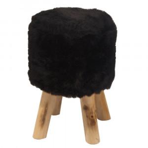 Taburet, blană neagră/pin, ALPIA