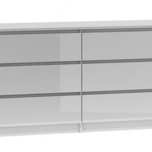 TECOA114 - Comoda 138 x 40 x 77 cm, Alb-Lucios