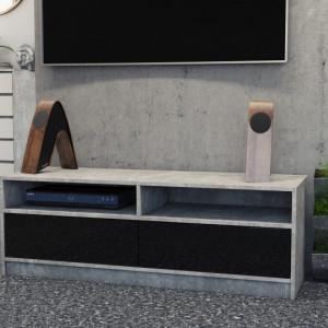 TECTV10 - Comoda TV 120 cm, living - Beton-Alb, Beton-Negru
