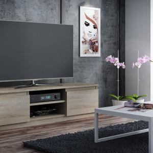 TECTV2 - Comoda TV 140 cm, living - Alb, Stejar, Maro, Sonoma-Alb, Negru, Sonoma, Maro-Alb