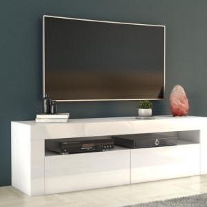 TECTV8 - Comoda TV 160 cm, living - Alb lucios, Negru lucios