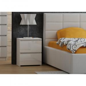 TENO8 - Set 2 Noptiere, 40x40 cm, cu 2 sertare pentru dormitor - Alb-Lucios