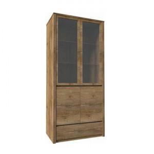 Vitrină cu un sertar şi uşi împărţite pline şi cu sticlă, stejar lefkas închis, MONTANA W2D