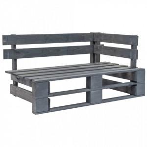 Banca de colt pentru gradina din paleti, gri, lemn - V44698V