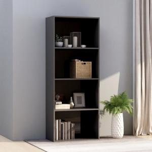 Biblioteca cu 4 rafturi, gri extralucios, 60x30x151,5 cm, PAL - V800989V