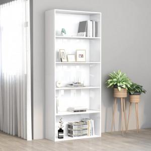 Biblioteca cu 5 rafturi, alb extralucios, 80x30x189 cm, PAL - V801032V