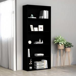Biblioteca cu 5 rafturi, negru, 80 x 30 x 189 cm, PAL - V801027V
