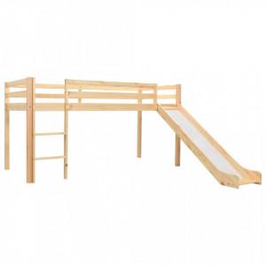 Cadru pat copii etajat cu tobogan & scara 97x208cm lemn de pin - V282714V