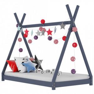 Cadru pat de copii, gri, 70 x 140 cm, lemn masiv de pin - V283361V