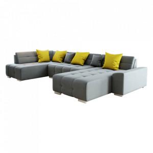Canapea, gri/muştar, model stânga, BELLIS U