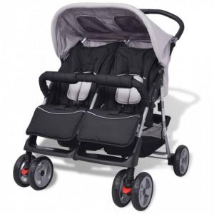 Carucior dublu pentru copii, gri si negru, otel - V10110V