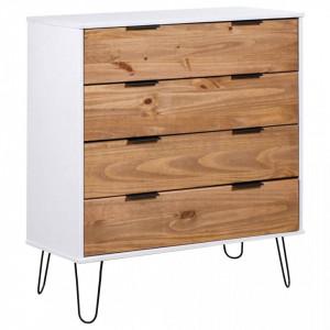Comoda cu sertare lemn deschis & alb 76,5x39,5x90,3 cm lemn pin - V321127V