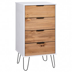 Comoda sertare, lemn deschis si alb, 45x39,5x90,3, lemn pin - V321123V