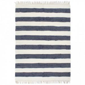 Covor Chindi tesut manual, albastru si alb, 200x290 cm, bumbac - V133912V