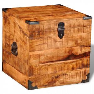 Cufar de depozitare tip cub, lemn de mango nefinisat - V241636V