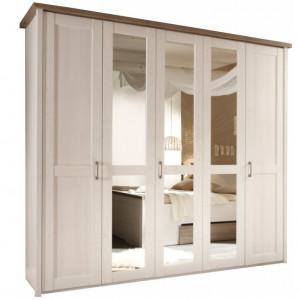 Dulap cu 5 uşi, PAL melaminat, pin alb/stejar sonoma trufă, LUMERĂ