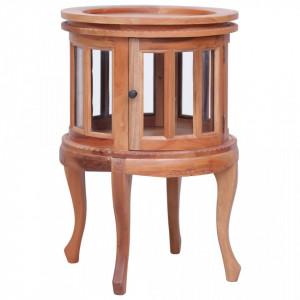 Dulap cu vitrina, natural, 50x50x76 cm, lemn masiv de mahon - V283844V
