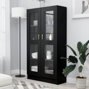 Dulap cu vitrina, negru, 82,5 x 30,5 x 150 cm, PAL - V802760V