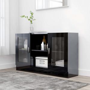 Dulap cu vitrina, negru extralucios, 120 x 30,5 x 70 cm, PAL - V802793V