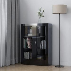 Dulap cu vitrina, negru extralucios, 82,5 x 30,5 x 115 cm, PAL - V802757V