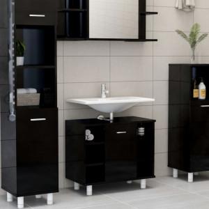 Dulap de baie, negru extralucios, 60 x 32 x 53,5 cm, PAL - V802640V