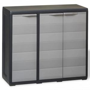 Dulap de depozitare pentru gradina, cu 2 rafturi, negru si gri - V43705V