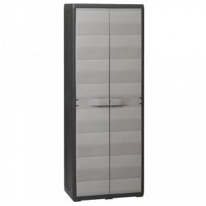 Dulap de depozitare pentru gradina, cu 3 rafturi, negru si gri - V43703V