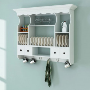 Dulap de perete pentru bucatarie, lemn, alb - V241372V