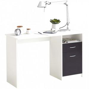 FMD Birou cu 1 sertar, alb si negru, 123 x 50 x 76,5 cm - V428737V